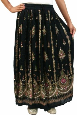 Dimpy Garments Embellished Women's Straight Black Skirt
