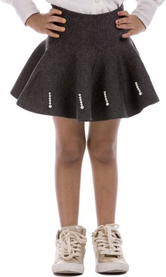 Classy Kids Solid Girl,s A-line Grey Skirt