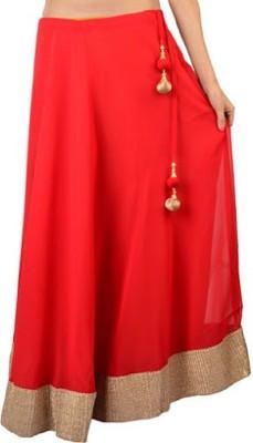 pinksisly Solid Women,s Regular Red Skirt