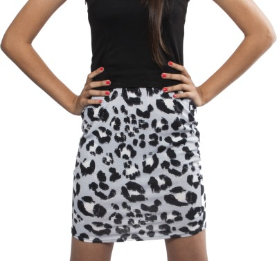 The Style Aisle Animal Print Women,s Straight White, Black Skirt