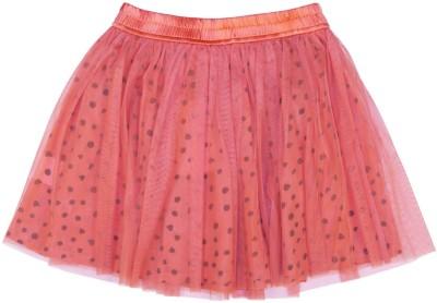 Aristot Polka Print Girl's Pleated Orange Skirt