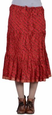 Jaipur Kala Kendra Printed Women's Regular Red Skirt