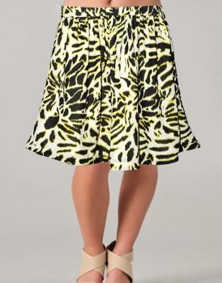 Vivaa Printed Women's Wrap Around Yellow, Black Skirt