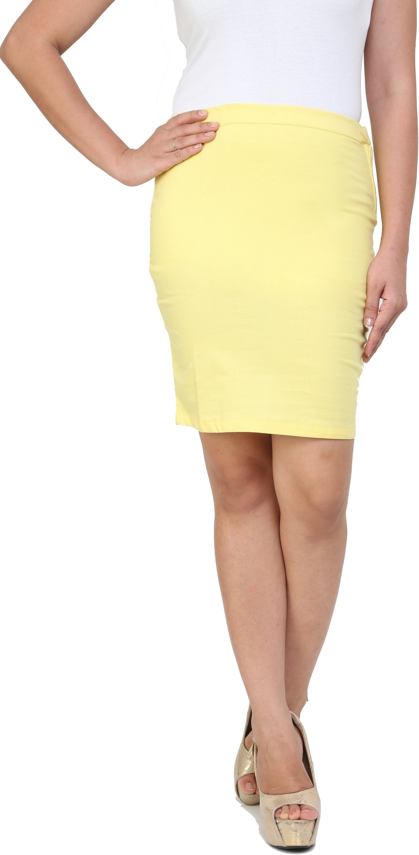 Cottinfab Solid Womens A-line Yellow Skirt