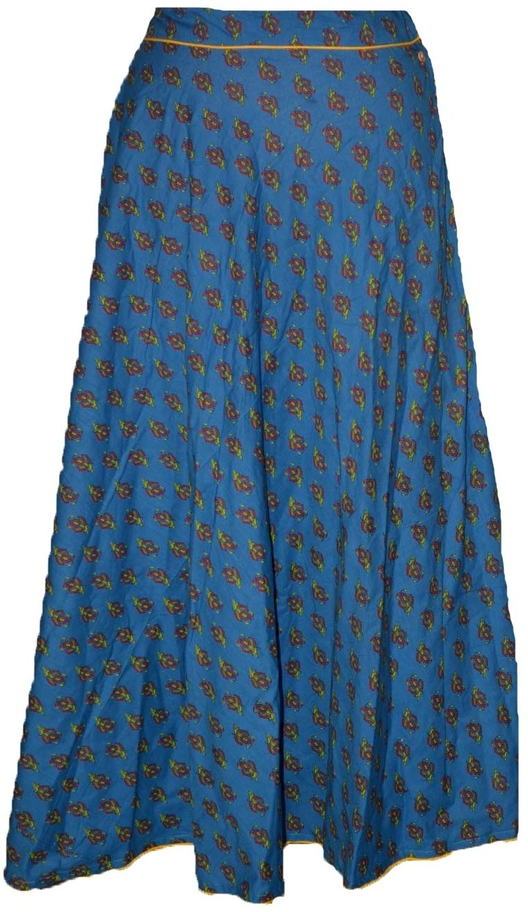 Alicolours Printed Womens Broomstick Blue, Brown Skirt