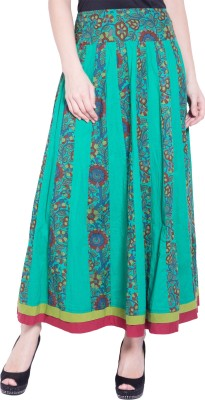 Tuntuk Floral Print Women's A-line Green Skirt