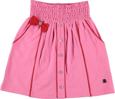 Bakery Babes Solid Girl's A-line Pink Skirt