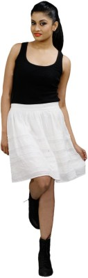 CrazeVilla Solid Women's Straight White Skirt
