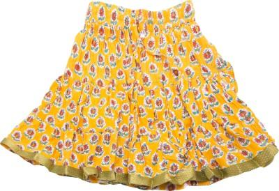 Sunshine Floral Print Girl's A-line Yellow Skirt
