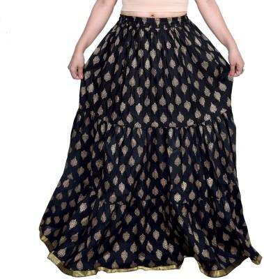 Decot Paradise Printed Women's Regular Black Skirt