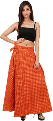 Indi Bargain Printed Women's Wrap Around Yellow, Black Skirt