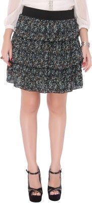 Bedazzle Printed Women's Tiered Black, Blue Skirt