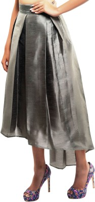 Sassy Stripes Solid Women's Pleated Grey Skirt
