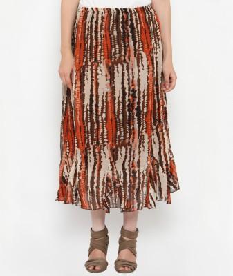 Philigree Striped Women's Straight White, Red Skirt