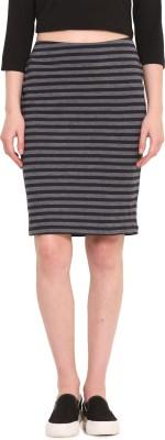 Saiesta Striped Women's Pencil Dark Blue Skirt