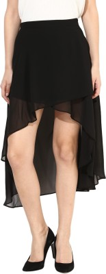 Harpa Solid Women's Asymetric Black Skirt