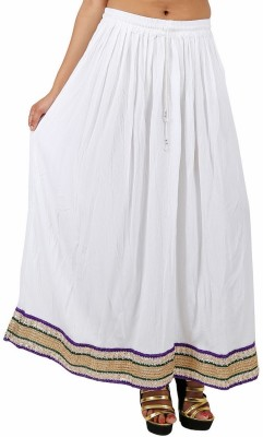 Indi Bargain Solid Women's A-line White Skirt