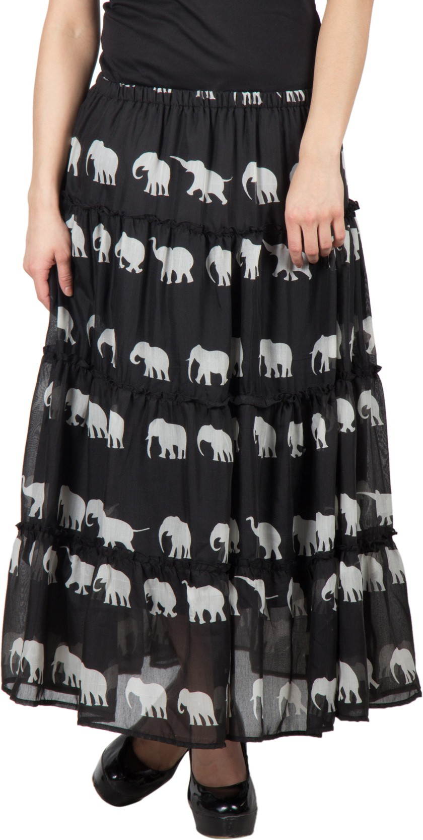 Famous by Payal Kapoor Printed Womens Gathered Black Skirt