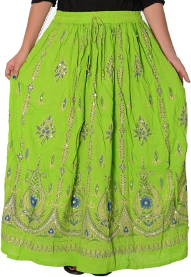 Fashionmandi Printed Women's A-line Green Skirt