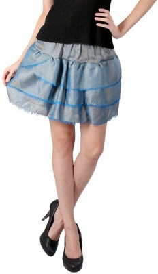 Textures Fashion Solid Women's Tiered Blue Skirt
