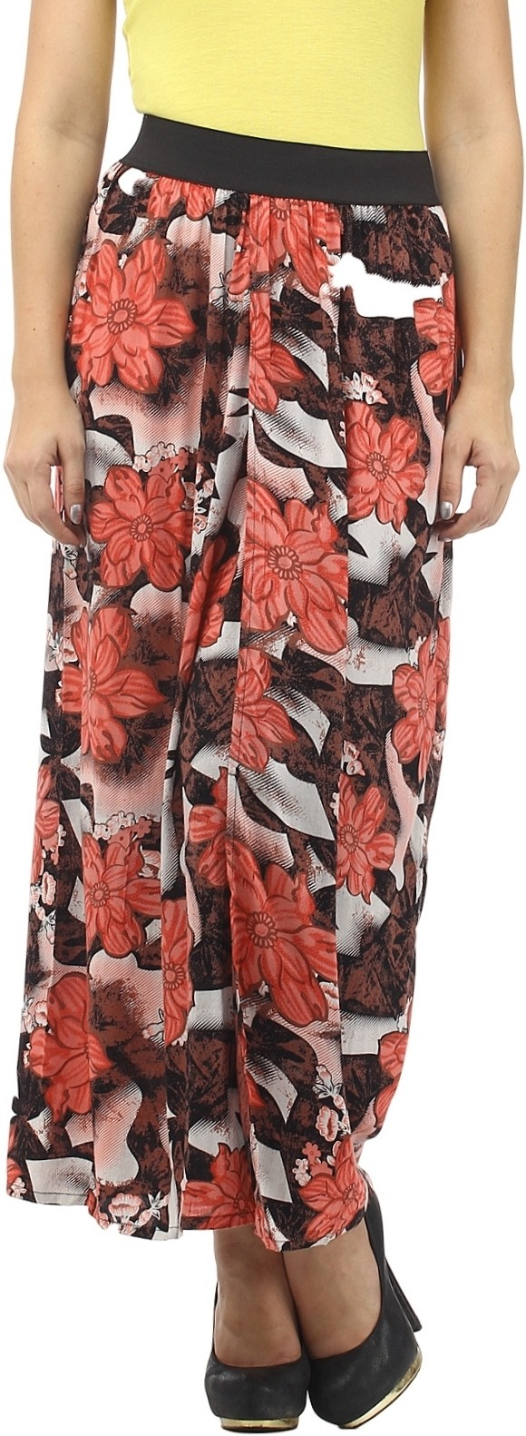 Cottinfab Floral Print Womens Straight Red, Multicolor Skirt