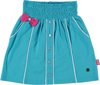 Bakery Babes Solid Girl's A-line Blue Skirt