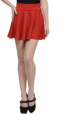 N-Gal Solid Women's Pleated Red Skirt