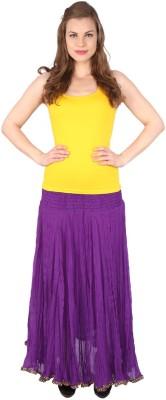Grand Store Solid Women's Gathered Purple Skirt