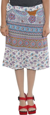 Pezzava Printed Women's Wrap Around White, Brown Skirt at flipkart