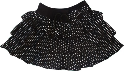 Garlynn Polka Print Girl's Layered Black Skirt