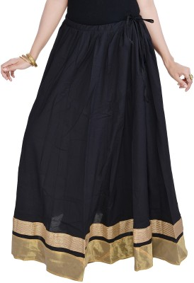 Prateek Exports Floral Print Women's Regular Black Skirt at flipkart
