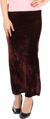 Gwyn Lingerie Solid Women's Straight Brown Skirt