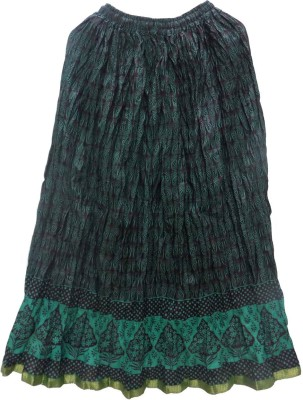 Jaipur Craft Shop Printed Women's Straight Green Skirt