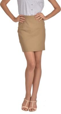 Bombay High Solid Women's Pencil Beige Skirt