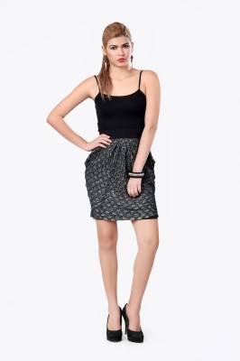 Glam & Luxe Printed Women's Pleated Black Skirt