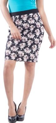 TrendBAE Self Design Women's Straight Black Skirt