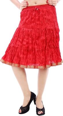Desert Eshop Floral Print Women's Broomstick Maroon Skirt