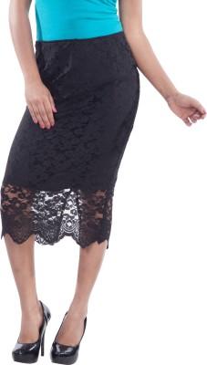 TrendBAE Embroidered Women's Pencil Black Skirt