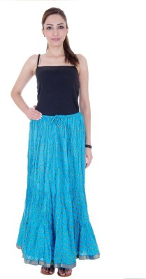 Ooltah Chashma Striped Women's Broomstick Blue Skirt
