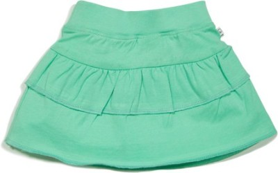 Solittle Solid Girl's Layered Green Skirt