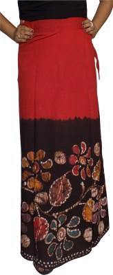 KheyaliBoutique Floral Print Women's Wrap Around Red, Black Skirt