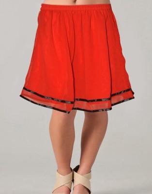 Vivaa Solid Women's Wrap Around Red, Black Skirt
