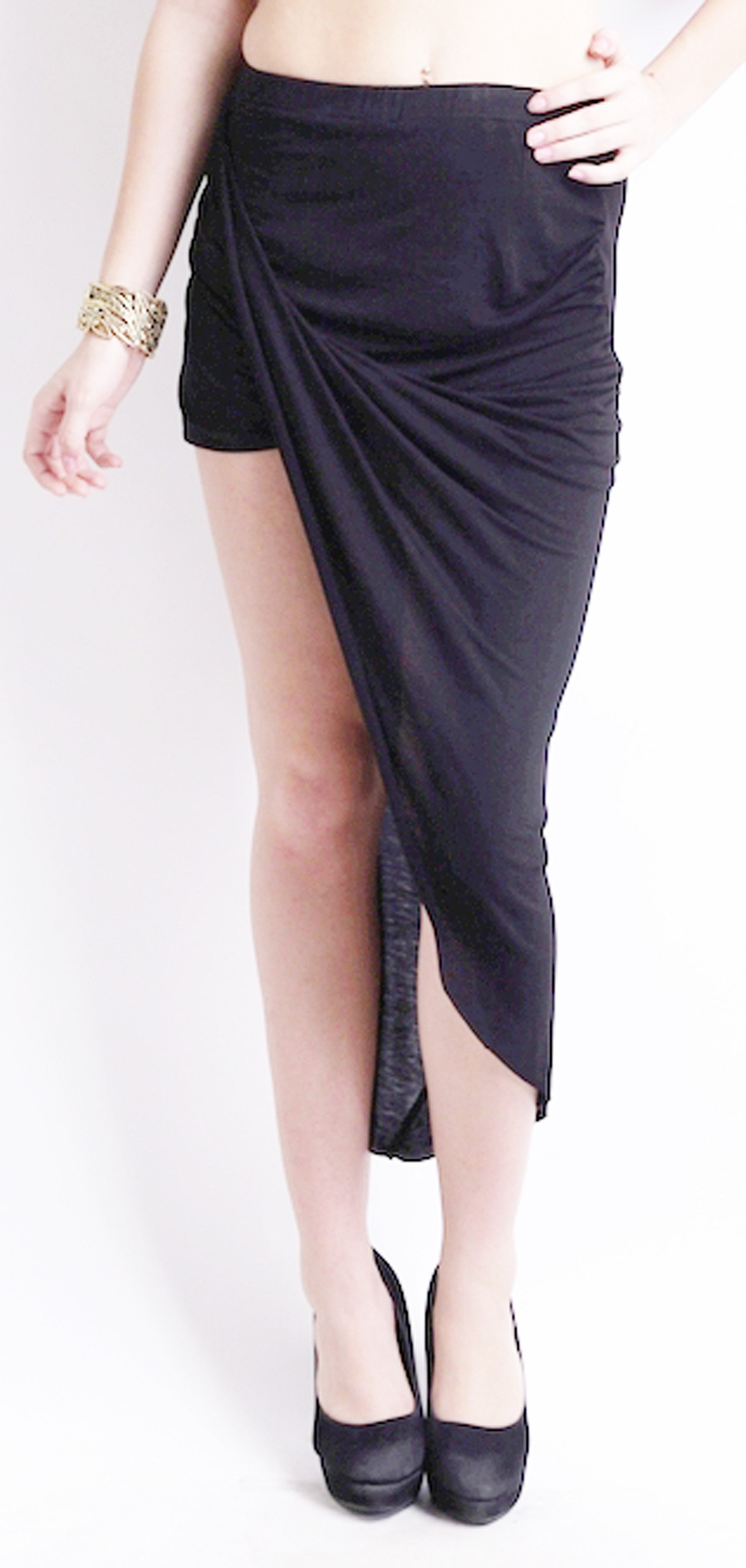Ridress Solid Womens Wrap Around Black Skirt