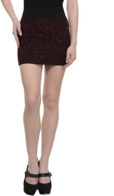 N-Gal Embellished Women's Pleated Maroon Skirt