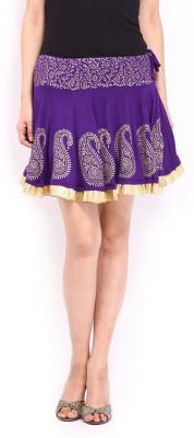 Ira Soleil Printed Women's Regular Purple Skirt