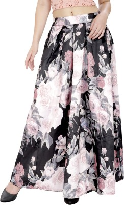 Svt Ada Collections Floral Print Women's Regular Black Skirt