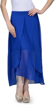 Natty India Solid Women,s A-line Blue Skirt