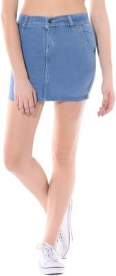 Vonvivo Solid Women's Regular Light Blue Skirt