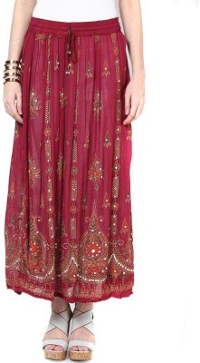 Dimpy Garments Embellished Women's Straight Maroon Skirt