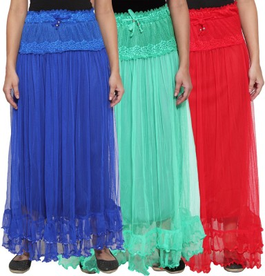 NumBrave Self Design Women's Layered Blue, Green, Red Skirt